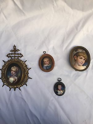 Magnificent 19C Collection Of 4 Pieces Of Hand Painting On Porcelain Framed