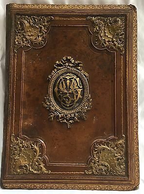 """Magnificent 19C French Leather,bronze Brass Blotter """"must See"""""""