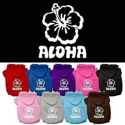 ALOHA Hawaiian Hibiscus Flower Dog Hoodie * Hooded Pet Shirt Hawaii Puppy