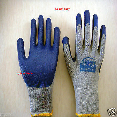 300 Pairs Premium BLUE Latex Rubber Coated Palm Work Gloves