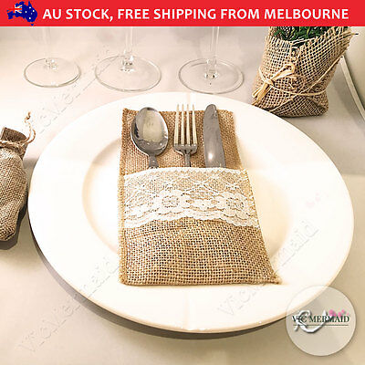 50x Hessian Burlap Cutlery Holder Lace Rustic Wedding Party Table Decorations