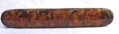 Magnificent 19C Persian Qalamadan Paper Mache Pen Holder Box Signed Ismaeel 1275