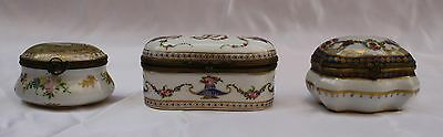 Magnificent 1900  Three  Piece Hand Painted French Sevres Box's Signed