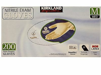 Kirkland Signature Nitrile Exam Gloves Latex-Free Medium 200 Gloves Pack