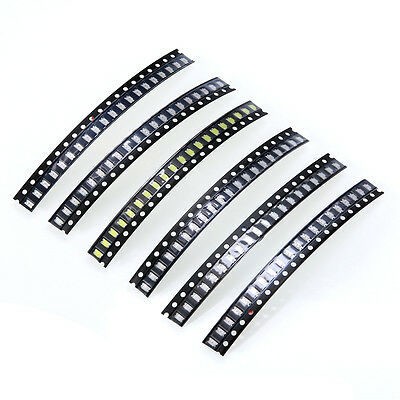 120pc SMD SMT 1206 White Red Green Blue Yellow Orange Bright LED Assorted Kit