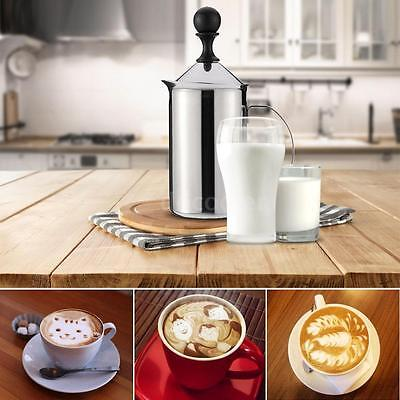 Large 600ml Stainless Steel Milk Frother Foamer Double Mesh Coffee Creamer X1O6