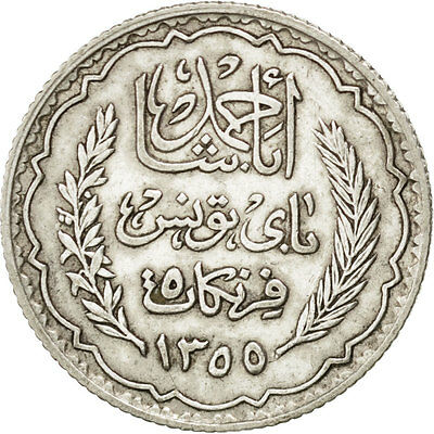 [#75166] TUNISIA, 5 Francs, 1934, Paris, KM #261, AU(50-53), Silver, 4.95