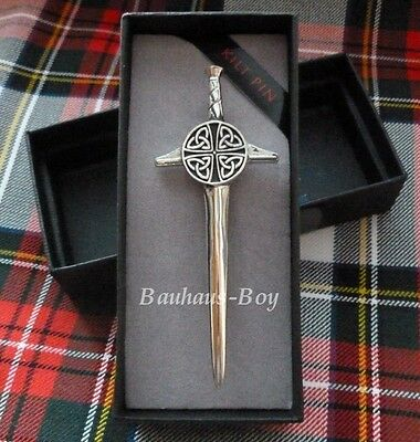 Kilt Pin Celtic Claymore Celtic Knotwork Solid Pewter Made In Scotland Kilts New