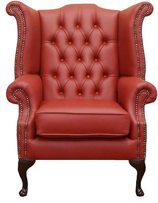 Chesterfield Armchair Queen Anne High Back Wing Chair Poppy Red Leather