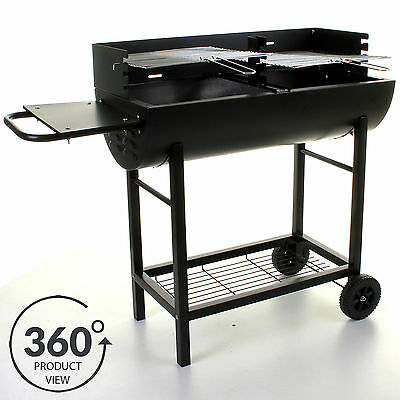 Large BBQ Barbecue Half Barrel Charcoal Grill Cooking Outdoor Patio Garden Party