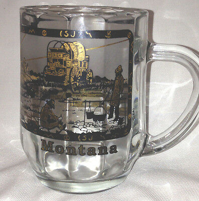 Montana Glass Mug Multisided Gold & Black Cowboy Scene Chuck Wagon Horses Steers