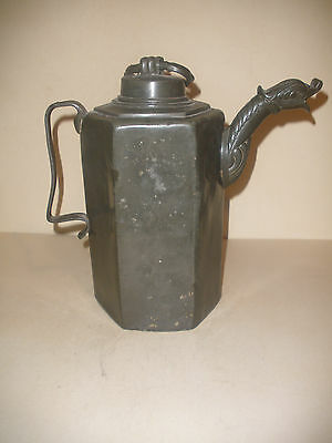 """10""""  Early Antique 1703 Continental Pewter Pitcher  With Figural Spout"""