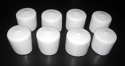 "8pk - 1 1/2"" Round White Vinyl End Cap 1.5"" Rubber Pipe Cover Post Tube Dock PVC"