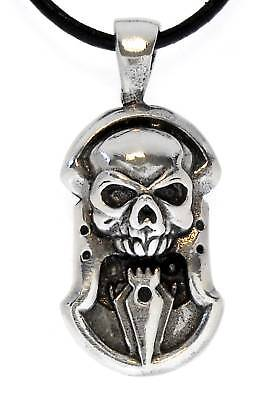 SKULL DAGGER Silver Pewter Pendant Leather CORD Surfer