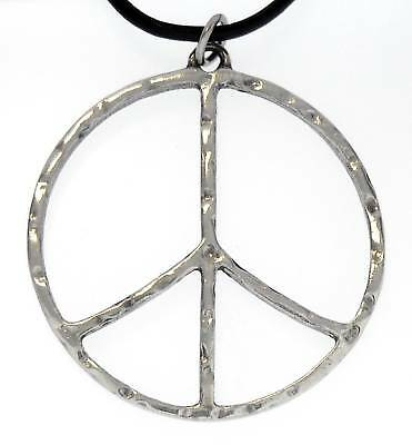 PEACE SIGN Silver Pewter Pendant Leather CORD Surfer