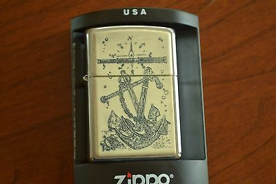 ZIPPO Lighter, Scrimshaw Anchors Aweigh - 20692, 2003, Sealed M601