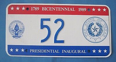 1989 DC Bicentennial Inaugural license plate excellent condition Texas seal