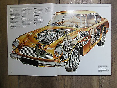 Aston Martin Db6 Cut Away Poster Ready To Frame 2 X A4 Size