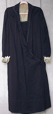 antique victorian womens black silk crepe mourning dress point gaze lace 1900 lg