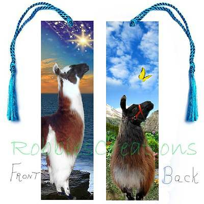 "ALPACA Llama BOOKMARK 6"" LARGE Tassel Brown White Animal Book Mark ART figurine"