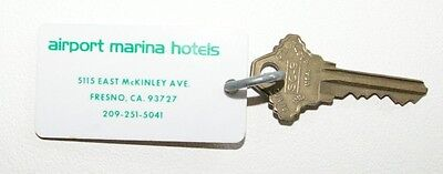 Vintage  Hotel Room Key Airport Marina Hotels Fresno California
