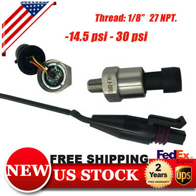 """Pressure Transducer Sensor 1/8""""NPT Stainless Steel S30psi Oil,Fuel,Gas,Air,water"""