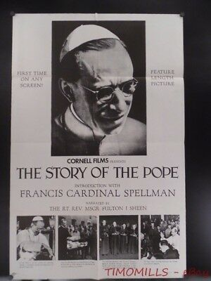 1947 THE STORY OF THE POPE Cornell Films Documentary Movie Poster Pius XII Rare