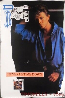 1987 David Bowie Never Let Me Down EMI America Record Store Promo Poster Vintage