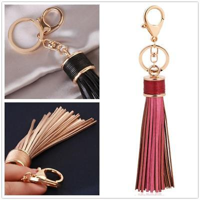 Women Leather Tassel Pendants Keychain Handbag Bag Key Chain Ring Keyring  JJ