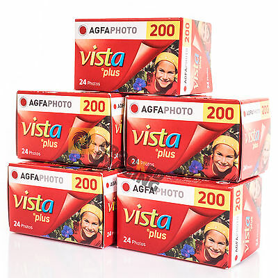 Agfa Vista Plus 200 135 35mm 24 Exp Colour Negative Print Film 5 Pack Fresh