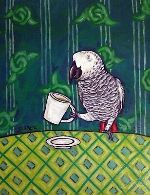 African Grey Parrot bird at the coffee shop cafe decor 8x10 signed art print