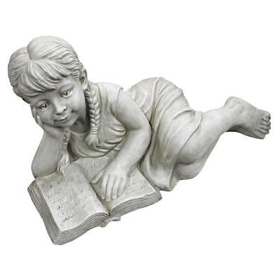 Design Toscano Girl Laying Reading Book Garden Statue Ornament