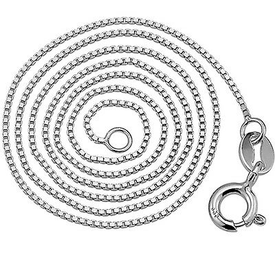 """1MM 16-24"""" Genuine 925 Sterling Silver Box Chain Necklace Link Italy Classical"""