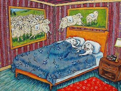 Great pyrenees counting sheep 13x19 signed dog art print