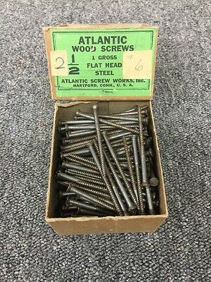 "Atlantic Wood Screws 2 1/2"" Vintage Steel Screw #6"