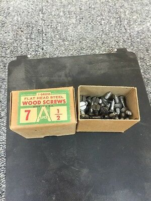 "Vintage Flat Head Wood Screws Steel Atlas 1/2"" #7"