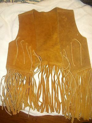 Vintage Child Genuine Leather Cowboy Vest Fringed Large Retro Hippie costume
