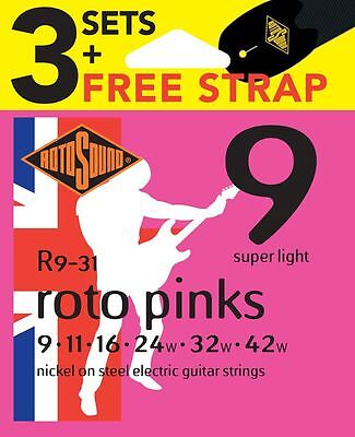 Rotosound R9 Nickel Plated Electric Guitar Strings x3 Sets FREE Strap Gauge 9-42