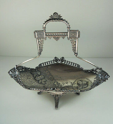 Victorian Silverplate Boat Shaped Basket with Roman Heads Butterfly & Flowers