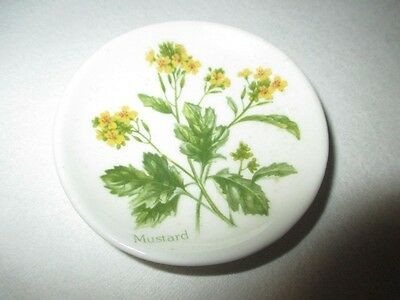 Mustard Weed Flowers Finsbury England Butter Pat Miniature Doll House Wall Plate