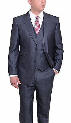 Emigre Extra Slim Fit Navy Sharkskin Chambray Three Piece Suit With Peak Lapels