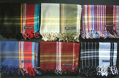 Kikoy Sarong Pareo Throw Wrap Mens Dark Colours Black Blue Brown Beige -Swimwear