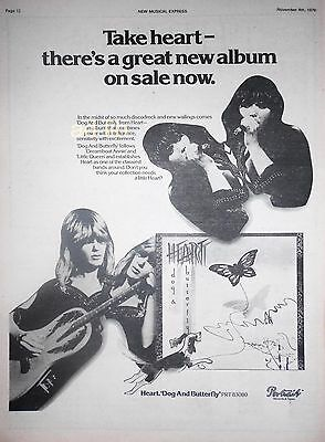 """HEART - DOG AND BUTTERFLY, UK 15"""" x 11"""" ADVERT AD PRINT 1978"""