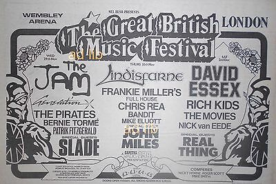 "THE GREAT BRITISH MUSIC FESTIVAL- JAM, SLADE, GEN X, UK 11"" x 8"" ADVERT AD 1978"