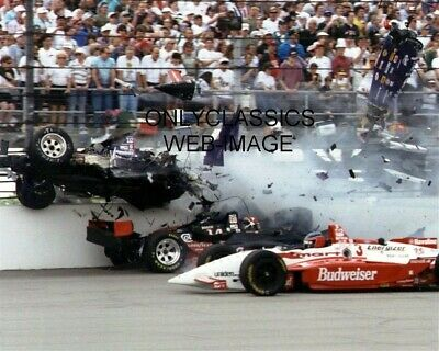 1995 Stan Fox Race Car Cut In Half By Eddie Cheever's Car Indy 500 Racing Photo