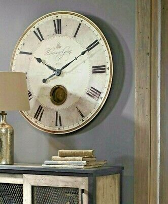 "NEW Harrison Wall Clock Gray & Brass 30"" Round Pendulum French Farmhouse XL"