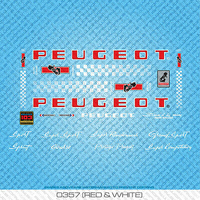 Peugeot PX/PY10 Bicycle Decals - Transfers - Stickers - Red & White - Set 357