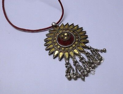 Antique Old Ethnic Tribal Indian Silver Glass Work Jewellery Pendant