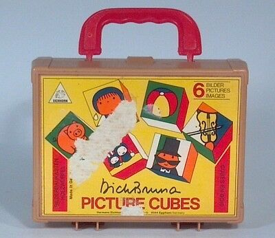 Vintage 6 Sided Block Puzzles Picture Cubes Blocks With Case Eichhorn Germany