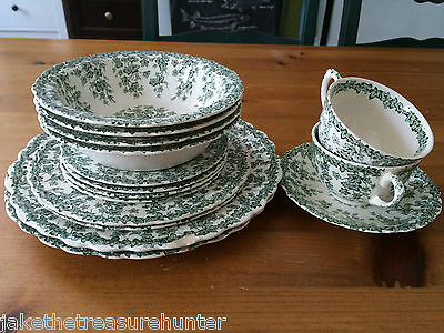 15 X Crown Ducal EARLY ENGLISH IVY - GREEN Plates Cups, saucers, Bowls